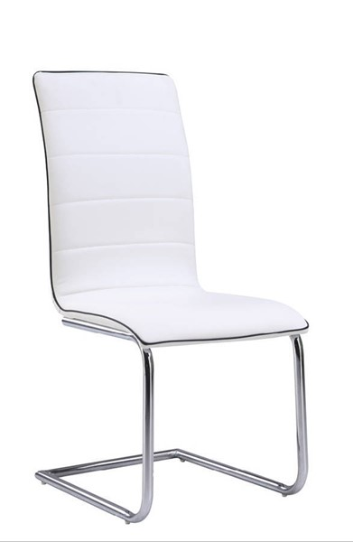 4 (D490 Series) White Black PU Metal Dining Chairs GL-D490DC-WH-M