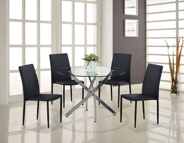 D497-D1211 Series Chrome Black Glass PU 5pc Dining Room Set GL-D497DT-D1211DC-BL