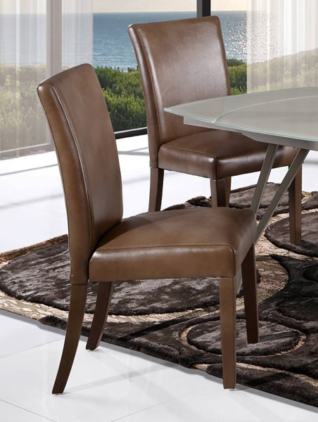 D6188 Series Brown Leather Air Dining Chair GL-D6188BDC-BLANCHE-WALNUT
