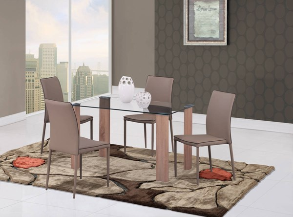 D634 Series Oak Khaki Dark Brown Dining Room Set GL-D634