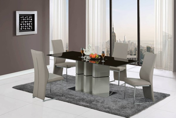 D647-D735 Series Grey Brown Champagne 5pc Dining Room Set GL-D647DT-D735DC