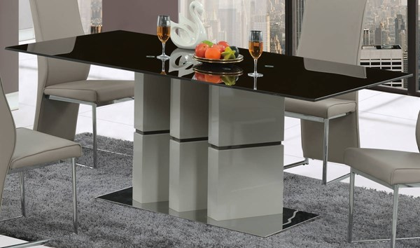 D647 Series Grey Brown Glass Dining Table GL-D647DT