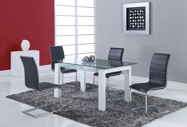 D648 Series Contemporary White Solid Wood Glass Metal Dining Table GL-D648DT
