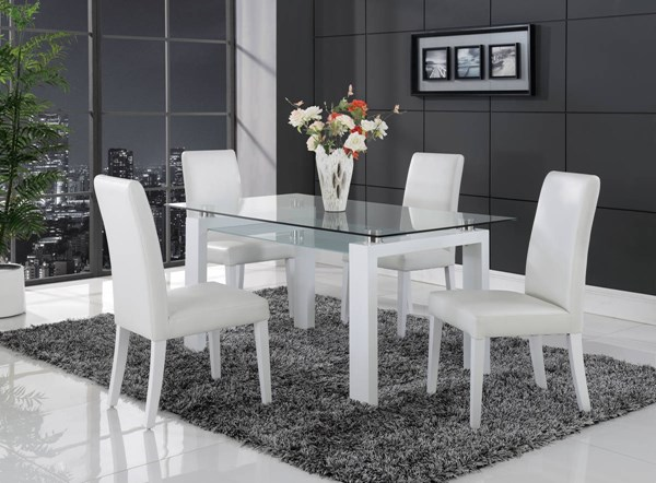 D648 Series Contemporary White Black Dining Room Set GL-D648