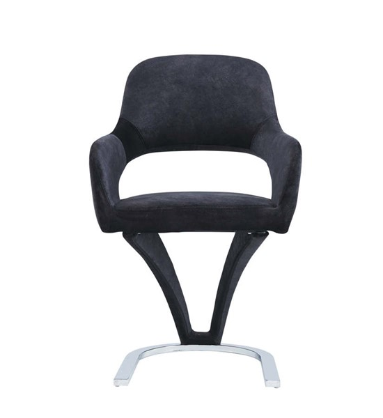 2 Global Furniture Black Velvet Suede Dining Chairs GL-D7012DC