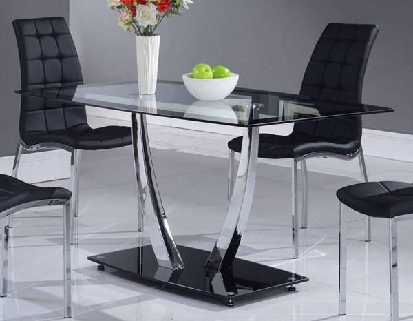 D716 Series Black Glass Metal Dining Table Black GL-D716DT-M