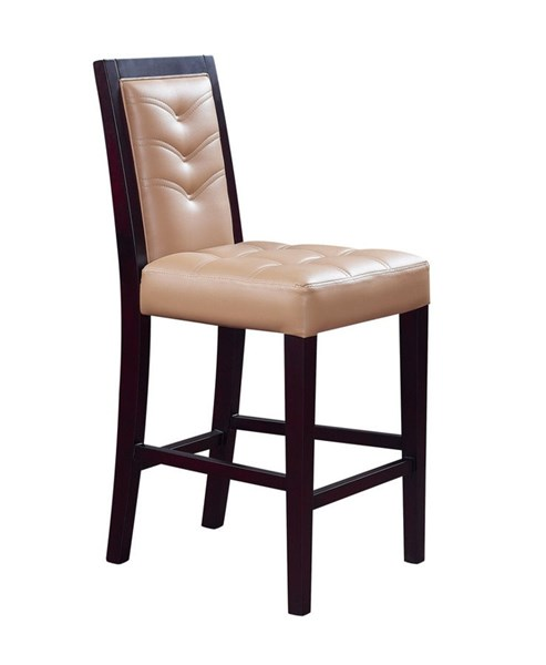 2 Brown Wood Fabric Solid Back Bar Stools GL-D800BS