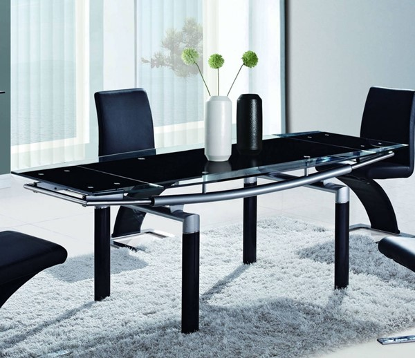 D88 Series Contemporary Black Silver Beige Glass Metal Dining Tables GL-D88-DT-VAR