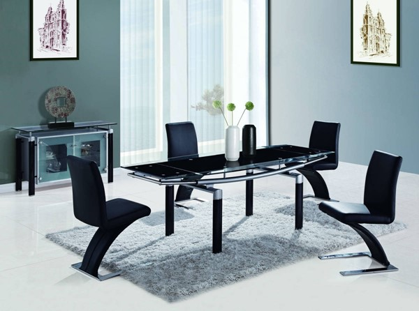 D88 Series Contemporary Black Silver Glass Metal 5pc Dining Room Set GL-D88-DR-S1