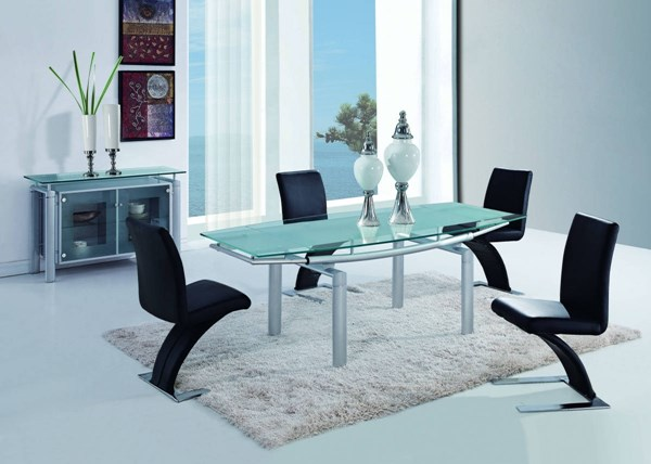 D88 Series Contemporary Glass Metal PVC 5pc Dining Room Sets GL-D88-DR-S
