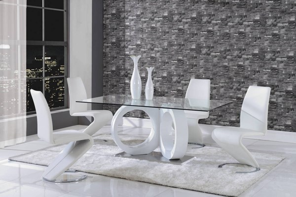 D9002 Series White Glass MDF PU Metal 5pc Dining Room Set GL-D9002-M-DR-S2