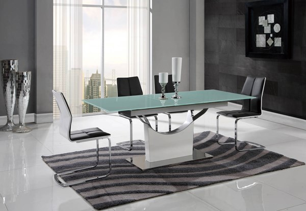 D9879-D8879 Series Grey White High Gloss 5pc Dining Room Set GL-D9879DT-D8879DC-5PC-SET