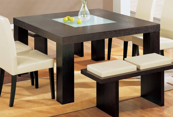 Wenge Glass Wood Formal Square Dining Table The Classy Home - Square formal dining table