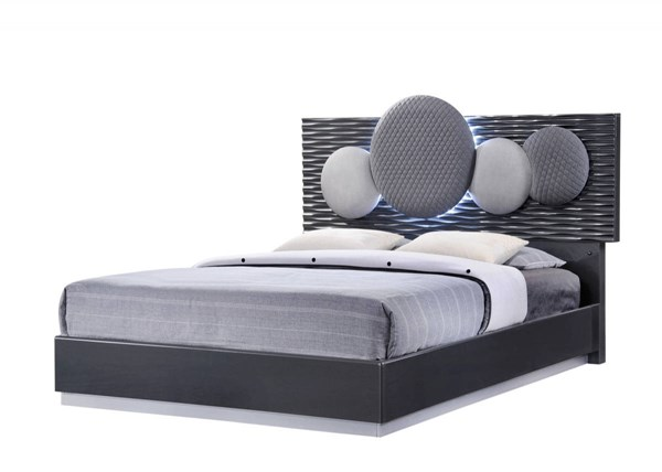 Dolce Dark Grey High Gloss Queen Platform Bed GL-DOLCE-136-QB