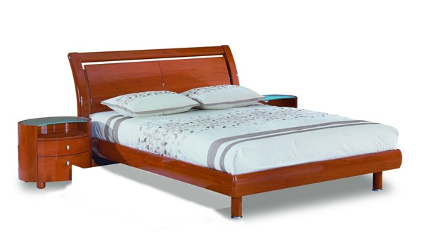 Emily Cherry MDF Wood Veneer King Bed GL-EMILY-B86-CH-KB