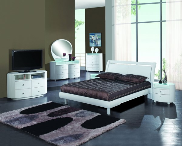 Emily White MDF Wood Veneer 5pc Bedroom Set w/Queen Bed GL-EMILY-B86-WH-BR-S2