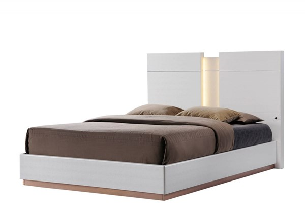 Emma Leather Cream King Platform Bed GL-EMMA-137-KB