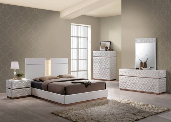 Emma Leather Cream 2pc Bedroom Set W/King Platform Bed GL-EMMA-137-KB-S