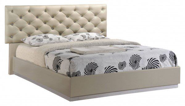 Grace Champagne High Gloss PU Beds GL-GRACE-125-BEDS