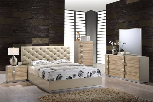 Grace Champagne High Gloss MDF Wood PU 5pc Bedroom Sets GL-GRACE-125-BR-S
