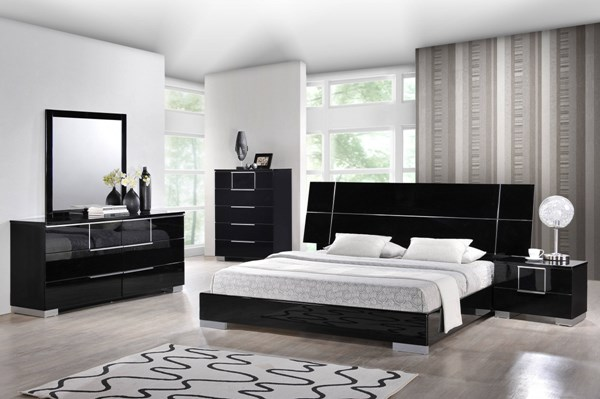 Hailey Contemporary Black MDF Wood 2pc Bedroom Sets GL-HAILEY-BR-S