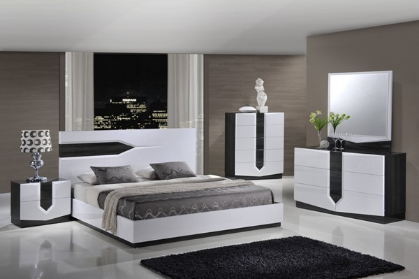 Hudson Contemporary Zebra Grey White MDF Wood Master Bedroom Set GL-HUDSON-988-BR