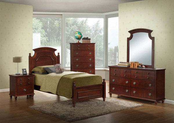 Leila Brown Cherry 4pc Bedroom Set w/Full Bed GL-LEILA-CH-FB-BX-S