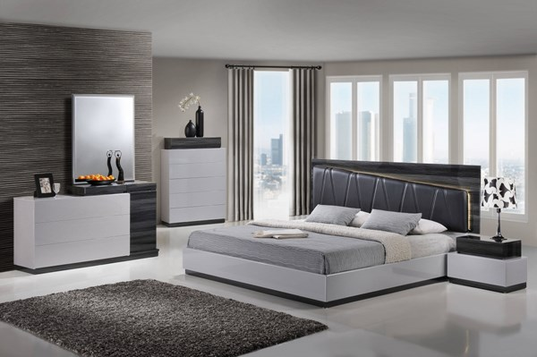 Lexi Contemporary Zebra Grey Black MDF Wood PU 2pc Bedroom Sets GL-LEXI-982-BR-S