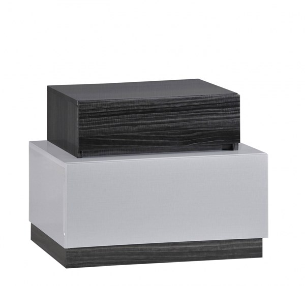 Lexi Contemporary Zebra Grey Black MDF Wood Nightstand GL-LEXI-982A-NS