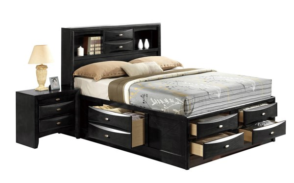 Linda Black Wood Queen Panel Bookcase Bed GL-LINDA-BL-QB-M