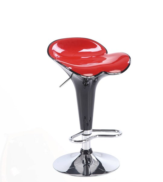 2 Black Red Metal PVC Foot Rest Bar Stools GL-M205BS-BL-R