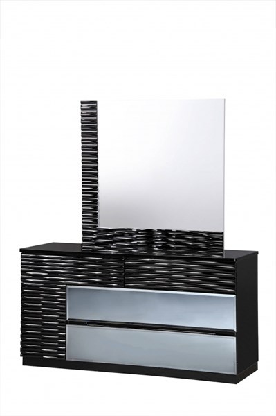 Manhattan Black High Gloss MDF Wood Dresser & Mirror GL-MANHATTAN-961-M-DRMR