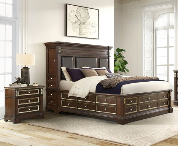 Global Furniture Marseille Brown Cherry 2pc Bedroom Set with Queen Tower Bed GL-MARSEILLE-CH-QB-W-TOWER-BR-DWR-S1