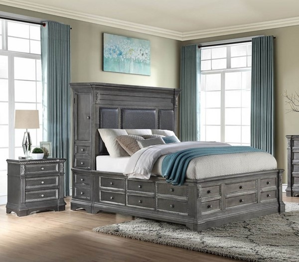 Global Furniture Marseille Grey 2pc Bedroom Set with King Tower Bed GL-MARSEILLE-GR-KB-W-TOWER-BR-DWR-S1