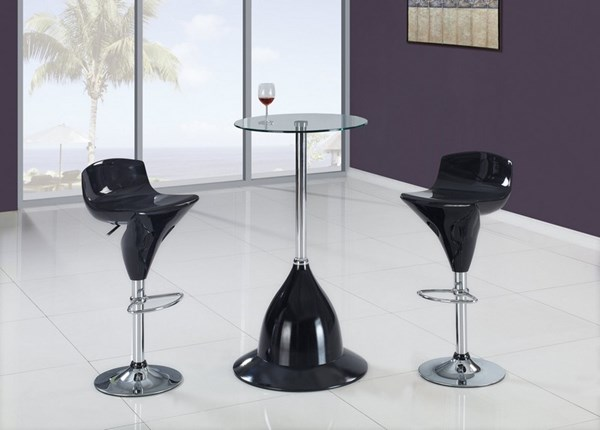 Black Metal Glass PVC 3pc Bar Set GL-MB230H-BT-set1