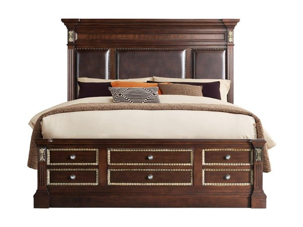 Global Furniture Marseille Brown Cherry Queen Bed With Tower GL-MARSEILLE-CH-QB-W-TOWER