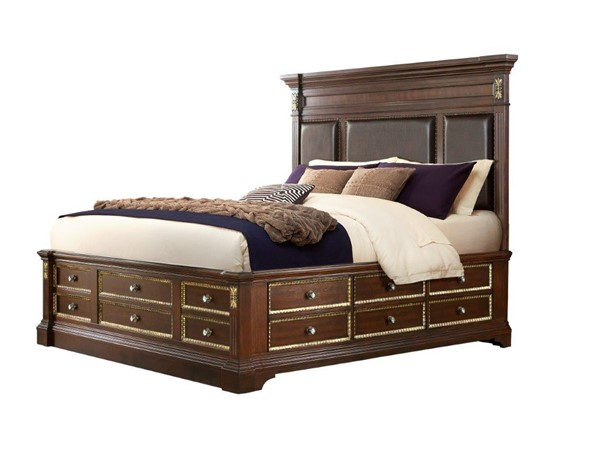 Global Furniture Marseille Brown Cherry Queen Bed GL-MARSEILLE-CH-QB-W-O-TOWER