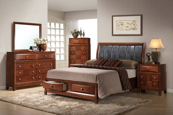 Oasis Oak Wood 2pc Bedroom Set W/King Storage Panel Bed GL-OASIS-0072-BR-S1