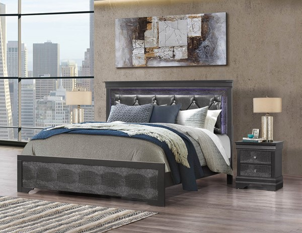 Global Furniture Pompei Grey 2pc Bedroom Set with Queen Panel Bed GL-POMPEI-GR-QB-BR-S1