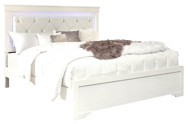 Global Furniture Pompei White Queen Panel Bed GL-POMPEI-WH-QB