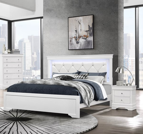 Global Furniture Pompei White 2pc Bedroom Set with Queen Panel Bed GL-POMPEI-WH-QB-BR-S1