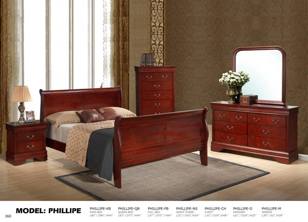 Philippe Cherry 5pc Bedroom Set w/Queen Bed GL-PHILIPPE1-4937-QB-M-S