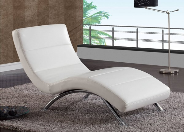 White Chrome Ultra Bonded Leather Metal Chaise GL-R820-R2V-WH
