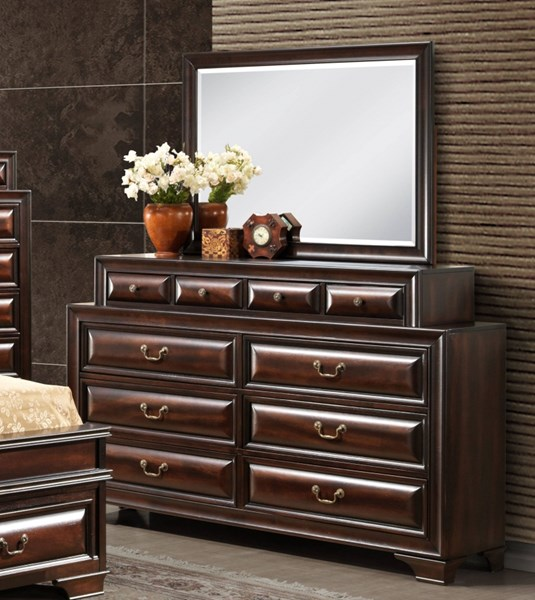 Sarina Varnish Oak Wood Dresser & Mirror GL-SARINA-033A-M-DRMR