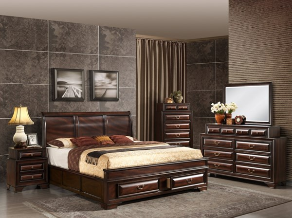 Sarina Varnish Oak Wood Master Bedroom Set GL-SARINA-033A-M-BR