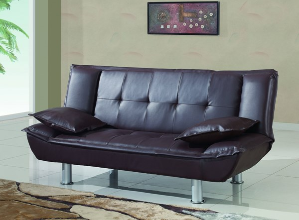 Black Silver PVC Metal Tufted Back & Seat Sofa Bed GL-SB012-BR-M