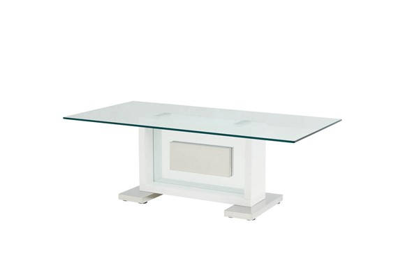 Global Furniture T1182 White Clear Glass Coffee Table GL-T1182C-WH