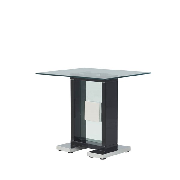 Global Furniture T1182 Black Clear Glass End Table GL-T1182E-BL