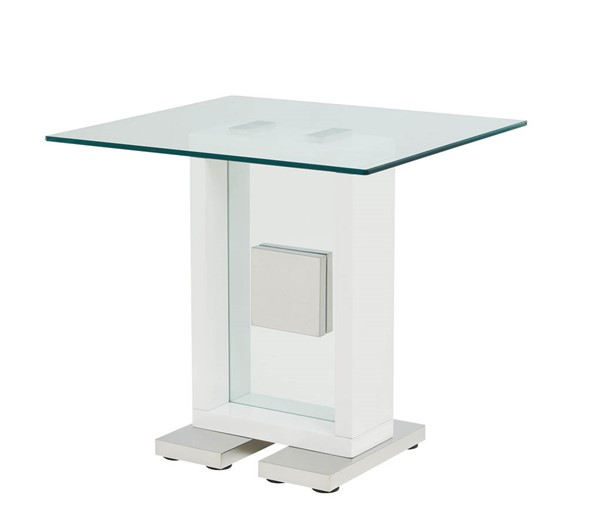Global Furniture T1182 White Clear Glass End Table GL-T1182E-WH
