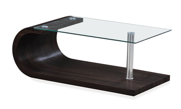 T1335 Series Wenge Glass Top Rectangle Coffee Table GL-T1335C